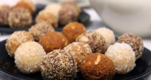 Truffels van gedroogd fruit en noten